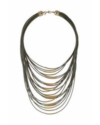 TOPSHOP - Green Threaded Multi-row Necklace - Lyst