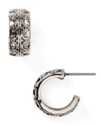 Lauren by Ralph Lauren | Metallic Beaded Delight Small Textured Huggie Hoop Earrings | Lyst