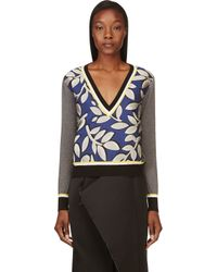 Marni - Blue and Grey Patterned Jacquard Sweater - Lyst