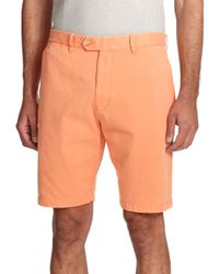Saks Fifth Avenue | Orange Sulfur Dyed Pima Cotton Shorts for Men | Lyst