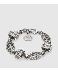 Gucci - Metallic Bracelet With Swarovski Crystals - Lyst