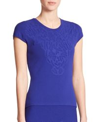 ESCADA | Blue Embossed Flower Knit Top | Lyst