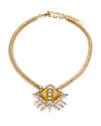 DANNIJO | Metallic Leighton Crystal Pendant Necklace | Lyst