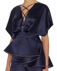 Johanna Ortiz - Blue Ruffled Satin Jumper: Navy - Lyst