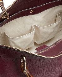 Gucci - Red Bamboo Shopper Medium Boston Bag - Lyst