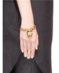 Alexander McQueen   Metallic Punk Rose Skull Chain Bracelet   Lyst