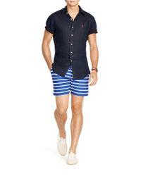 Polo Ralph Lauren | Blue Short-sleeved Linen Shirt for Men | Lyst