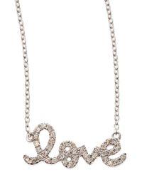 Sydney Evan | Small White Gold Diamond Love Necklace | Lyst