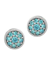 Lord & Taylor - Blue Sterling Silver And Aqua Cubic Zirconia Stud Earrings - Lyst