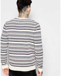 ASOS - Purple Lambswool Rich Jumper In Multi Fairisle Pattern for Men - Lyst