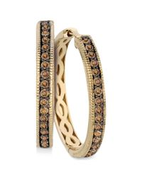 Le Vian - Brown Chocolate Diamond Hoop Earrings In 14k Yellow Gold (5/8 Ct. T.w.) - Lyst