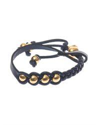 Alexander McQueen - Blue Plaited Leather Skull Bracelet - Lyst