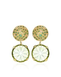 Vicente Gracia - Multicolor One Of A Kind El Jardin De Jade Y Tsavoritas Earrings - Lyst