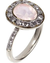 Annoushka | Metallic Dusty Diamonds 18Ct White-Gold, Rose Quartz And Grey Diamond Ring | Lyst