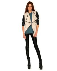 Missguided - Natural Irne Faux Leather Sleeve Multi Jacket in Stone - Lyst