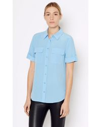 Equipment | Blue Short Sleeve Slim Signature Silk Shirt | Lyst