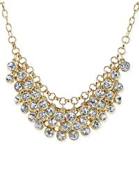2028 | Metallic Gold-tone Glass Stone Cluster Bib Necklace | Lyst