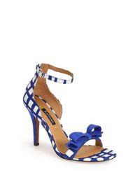 Kay Unger | Blue 'Baroque' Ankle Strap Sandal | Lyst