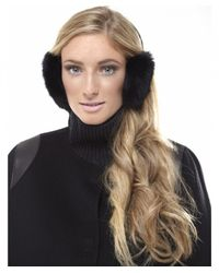 Yves Salomon - Black Rabbit Fur Ear Muffs - Lyst