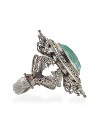 Armenta | Metallic New World Scalloped Green Turquoise & Diamond Ring | Lyst