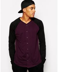 ASOS - Red Skater Long Sleeve T-shirt With Baseball Button Through for Men - Lyst