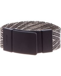 Lanvin - Metallic Silver and Black Beaded Chevron Bracelet for Men - Lyst