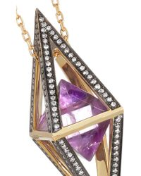 Noor Fares - Metallic Octave Pendulum 18-karat Gold, Amethyst And Diamond Necklace - Lyst