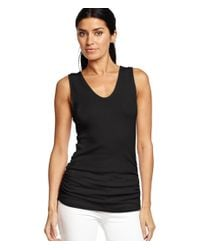 Michael Stars | Black Shine Racerback Tank With Side Shirring | Lyst