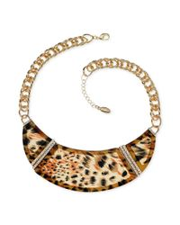 Guess | Metallic Goldtone Leopard Crystal Bib Necklace | Lyst