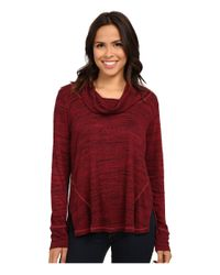 Allen Allen | Red Long Sleeve Seamed Top | Lyst