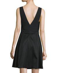 J. Mendel - Black V-neck Fit-&-flare Dress - Lyst