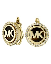 Michael Kors | Metallic Monogram Stud Clip On Earrings | Lyst