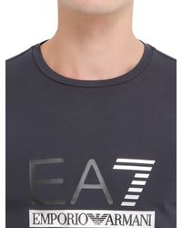 EA7 | Blue Logo Cotton Jersey Long Sleeve T-shirt for Men | Lyst