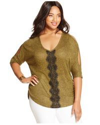 Jessica Simpson - Green Plus Size Cold-shoulder Marled Sweater - Lyst