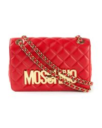 Moschino - Red Logo-Detail Quilted-Leather Shoulder Bag - Lyst