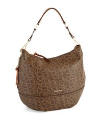 Calvin Klein - Brown Hudson Monogram Hobo Bag - Lyst