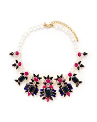 Kenneth Jay Lane - Multicolor Floral Strass Necklace - Lyst
