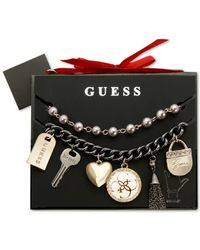 Guess | Metallic Two-tone Charm And Imitation Pearl Bracelet Set | Lyst