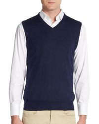 Saks Fifth Avenue - Blue Merino Wool Vest for Men - Lyst