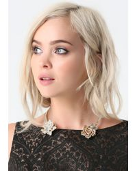 Bebe | Metallic Floral Open Collar Necklace | Lyst
