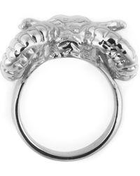 Black Scale | Metallic Silver Ram Head Ring for Men | Lyst
