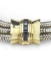Tiffany & Co. - Metallic Pre-owned Silver and Gold 3 Strand Bracelet with Sapphires - Lyst