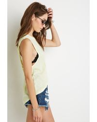 Forever 21 - Yellow Cutout-back Muscle Tee - Lyst
