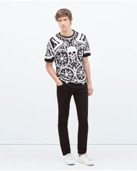 Zara | White Printed T-shirt for Men | Lyst