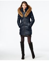 Kensie | Blue Faux-fur-trim Shawl-collar Quilted Coat | Lyst