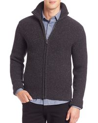 Victorinox | Black Brigade Lambswool Front Zip Cardigan for Men | Lyst