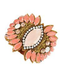 Deepa Gurnani - Orange Marquis Sunburst Crystal Cuff Peach - Lyst