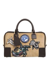 Loewe - Brown Amazona 23 Space Patch Suede Top Handle - Lyst