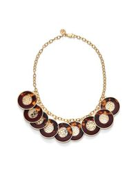 Tory Burch | Metallic Frontal Necklace - Cabernet/ Tortoise/ Shiny Gold | Lyst