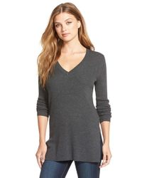 Halogen - Gray Side Slit V-neck Ribbed Tunic Sweater - Lyst
